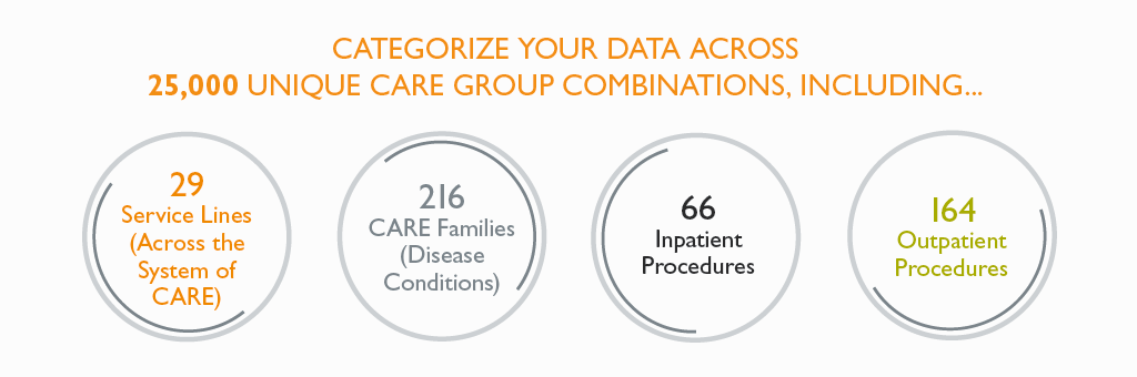 Categorize your data across 25,000 unique CARE group combinations
